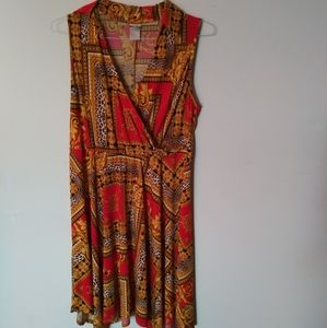 Wrapper Sleeveless Surplice Buckle Dress Sz 1X